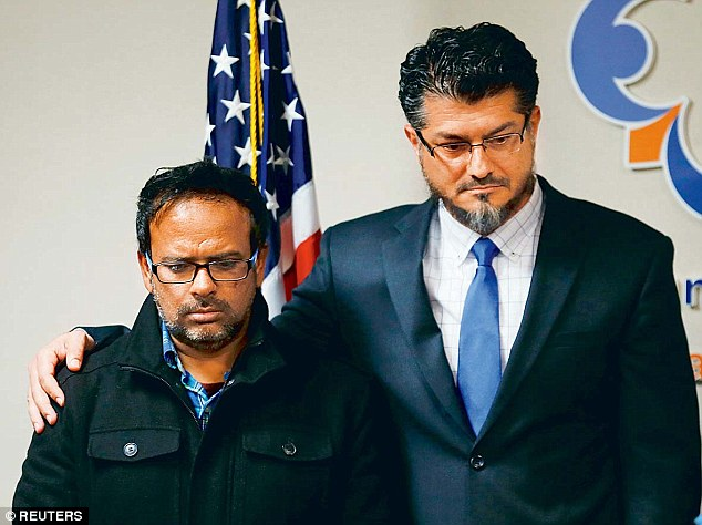 Farhan Khan (left), brother-in-law of San Bernandino shooter Syed Farook, says his relative had a 'normal' family life and was not a religious radical