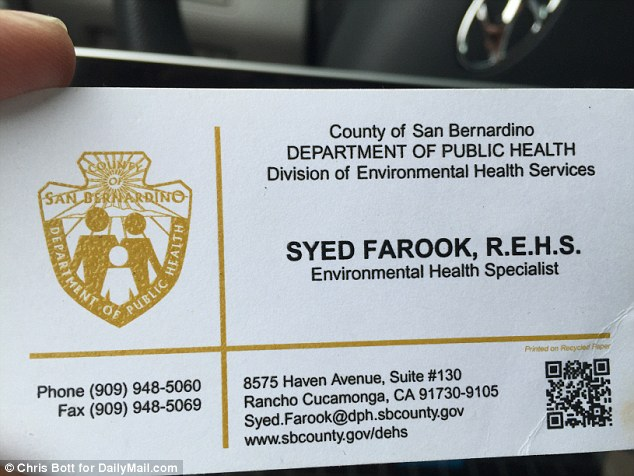 Syed Farook's business card identified him as an environmental health specialist for the San Bernardino County Department of Public Health