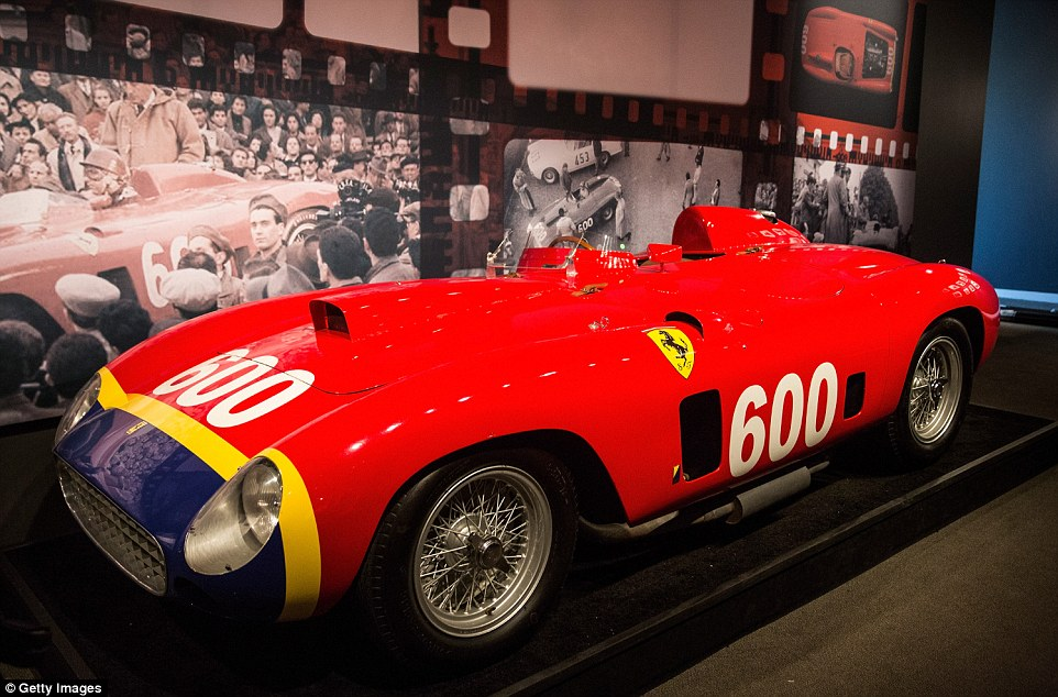 Iconic: A 1956 Ferrari 290 MM by Scaglietti (pictured) is expected to fetch more than £21million at an auction in New York next Thursday