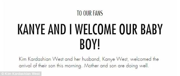 Big news: The couple announced the birth with a message on Kim's website, kimkardashianwest.com