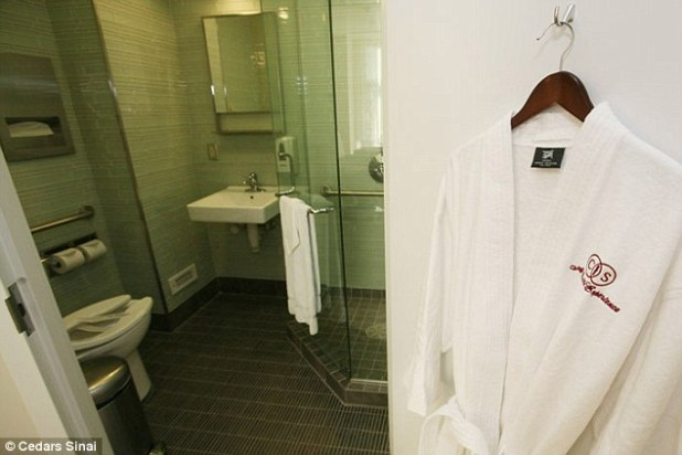Nice touch: Kim's three-bedroom suite comes with two bathrooms and complimentary robes