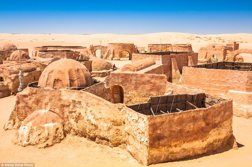 The sets are visible in Tunisian desert nearly four decades after the first film was filmed; this is Ong Jemel near Tozeur