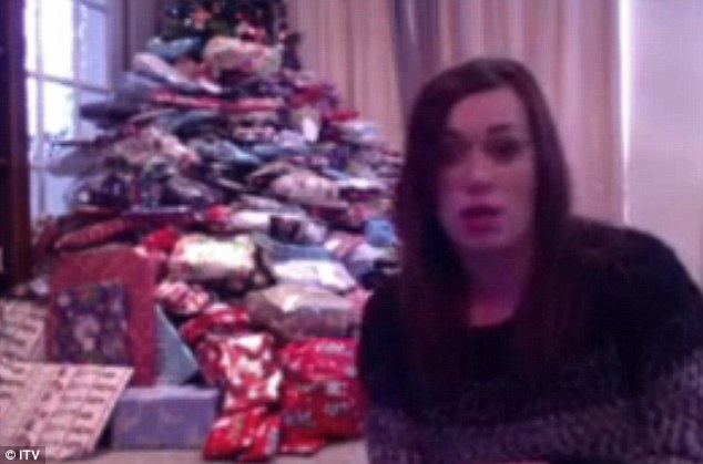 Emma appeared on today's This Morning via Skype to reveal why she buys so many Christmas presents, which can be seen stacked up under her tree behind her