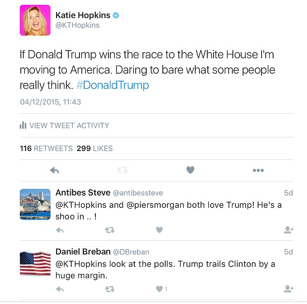 Support: Katie Hopkins taking to Twitter in support of Mr Trump,