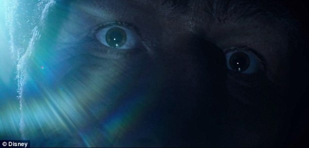 Mysterious: Viewers see just The BFG's eyes and hand in the two-minute clip