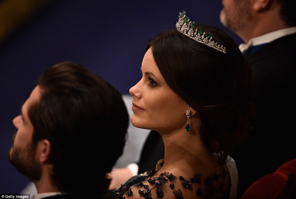 The royal had her tiara specially made for her wedding in June to Prince Carl Philip and gave it a second outing tonight for the celebrations