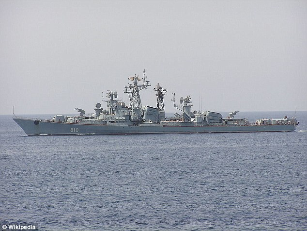 Russian destroyer Smetlivy, pictured, fired on a Turkish fishing ship when it 'ignored warnings' to avoid it