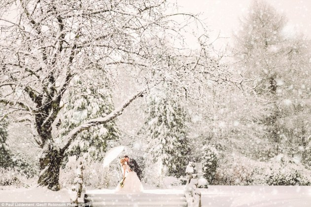 The couple's wish for snow came true and their wedding venue was turned into a winter wonderland, with eight inches of snow falling on December 12, producing these stunning scenes