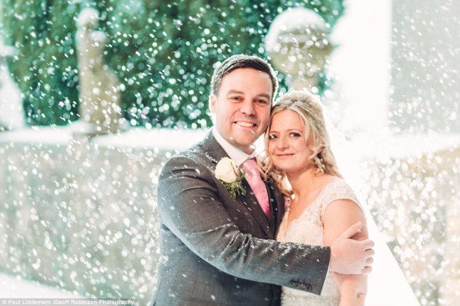 Newlyweds Chris and Carly were thrilled with their winter wonderland of a wedding - the snow even melted away in time so guests could get home easily