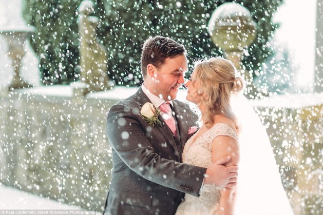 The couple bravely posed outside for some pictures taken by wedding photographer Paul Liddement, 36, who has been photographing weddings for three years but had never done a snowy wedding before