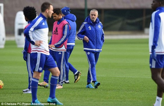 Mourinho oversaw his final training session in charge of Chelsea before being sacked on Thursday