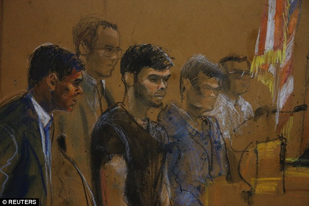 Art: A courtroom sketch shows defendants Shkreli (C) and Greebel (R) a former partner at law firm Katten Muchin Rosenman (R) during their arraignment