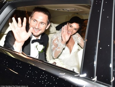 Happiest day of their lives: Christine and Frank could barely keep the smiles from their faces as they headed to the wedding reception