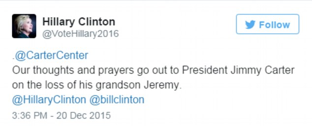 Hillary Clinton was one of the first people to pay their respects to Jeremy after hearing news of his death