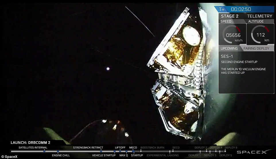 A view of space just before the satellites were deployed. In this image, the Merlin 10 Vacuum engine has started