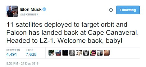 After his success, Elon Musk tweeted 'Welcome back, baby!'