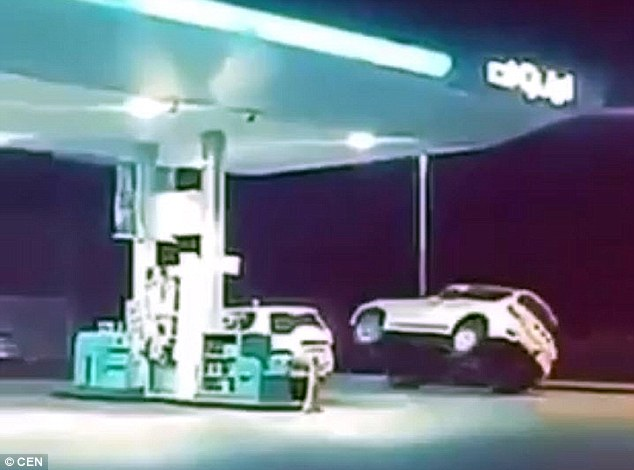 Police have said the driver's actions could have caused a 'catastrophe' at the petrol station