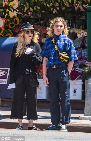 Madonna and her son Rocco Ritchie are seen taking casual stroll on the Upper East Side on August 7, 2015 in New York City