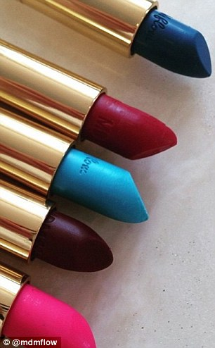 The lipsticks come in a variety of bold tones
