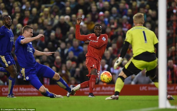Liverpool's No 27, Origi tries his luck inside the Leicester penalty - in one of 18 shots the hosts had in the first half