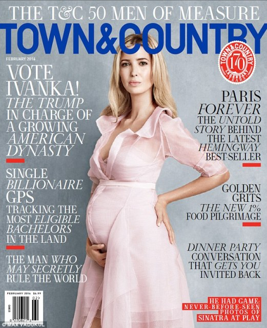 Pregnant Ivanka Trump in pink Carolina Herrera dress