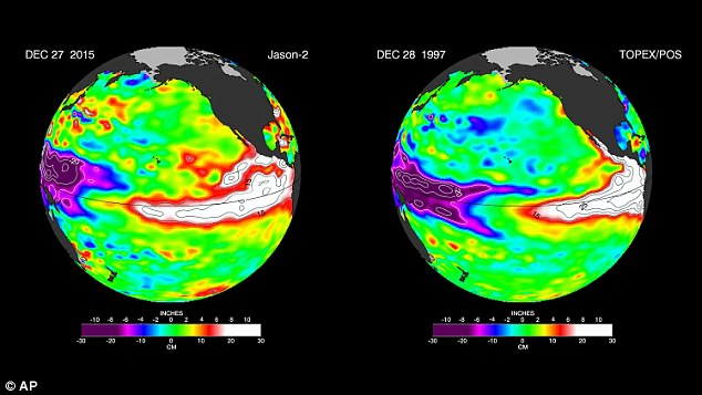 The latest satellite image from the U.S./European Ocean Surface Topography Mission (OSTM)/Jason-2 mission shows the storm compared to the same time in 2007 - which led to major problems in 2008.