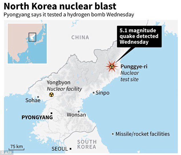 North Korea today conducted a 'successful' hydrogen bomb test, Pyongyang has confirmed. The detonation of the thermonuclear weapon triggered a 5.1 magnitude earthquake when it exploded at 10am local time on Wednesday in the north east of the country
