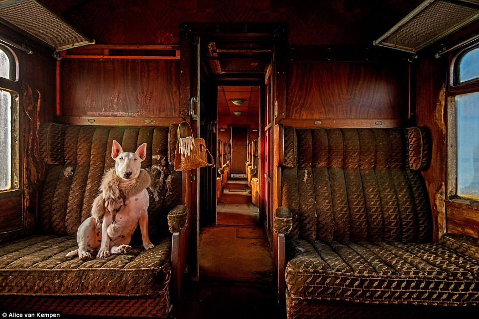 This empty train carriage in Belgium proved to be the perfect location for a glamorous shot featuring Claire in a fur scarf