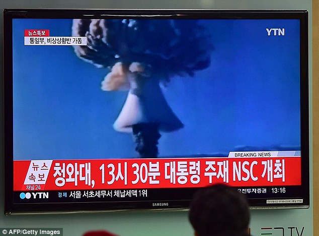 Last month North Korea claimed it had conducted its first 'successful' hydrogen bomb test. The pictures shown on South Korean TV (above) are file images from nuclear tests by other countries