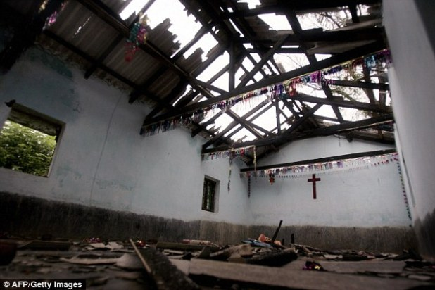 Destruction: A church in the village of Raikia,  Kandhamal, is pictured in the wake of the attacks in 2008