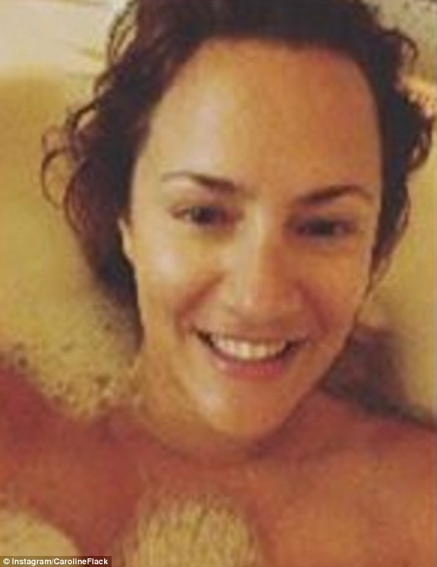 Caroline Flack Topless In Picture Of Herself Covered In Bubbles Daily Mail Online