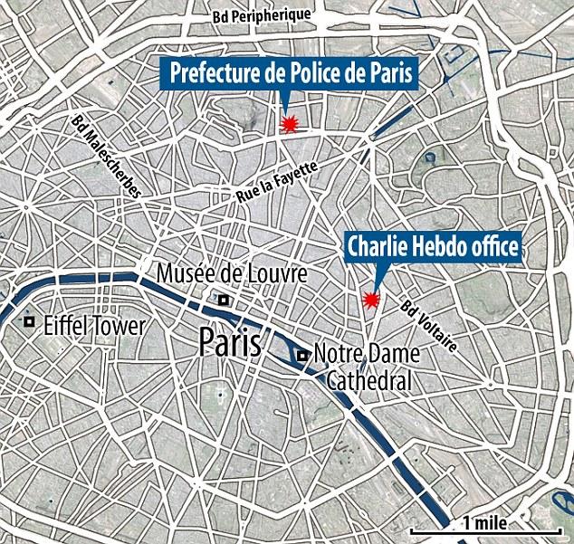 Fechar chamada: O tiroteio foi a apenas algumas milhas dos antigos escritórios de Charlie Hebdo que veio sob ataque há exatamente um ano