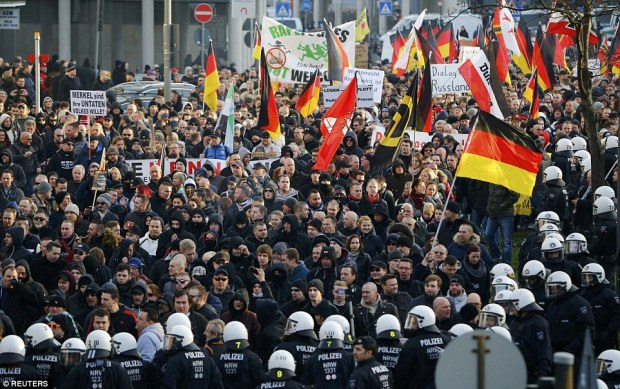 The demonstrations were held in response to over 100 reported cases of sexual assault, allegedly by gangs of migrants on New Year's Eve