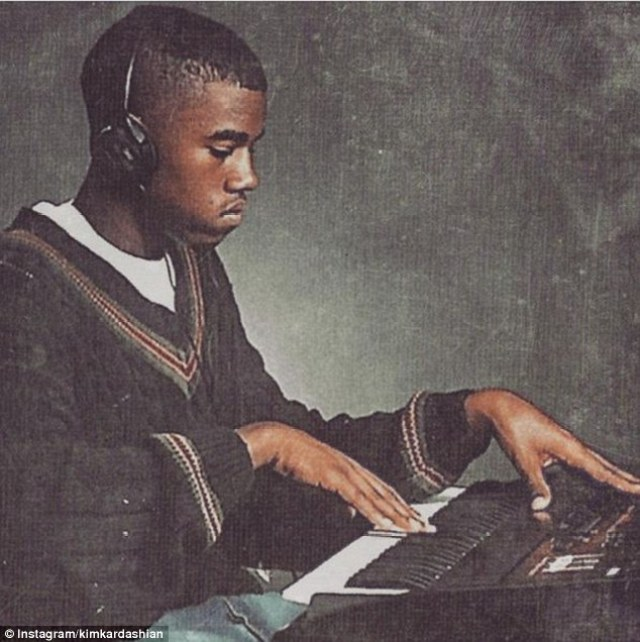 Supporting her man: Kim Kardashian celebrated the unveil of Kanye West's upcoming album release with a sweet throwback snap of the Stronger hitmaker, which is rumoured to be the cover of his new record