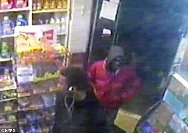 Pictured: surveillance video shows the suspects in the rape entering a bodega before the attack