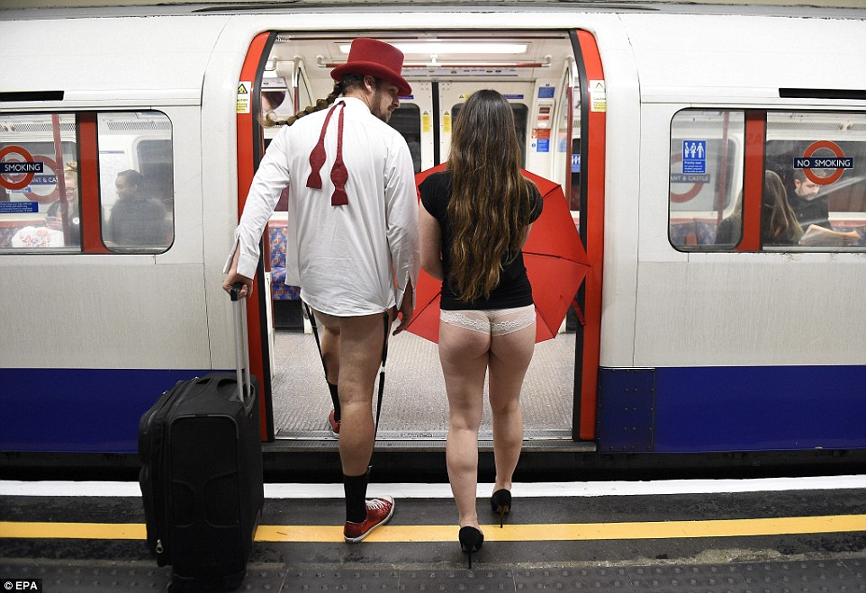 The 2016 'No Pants Subway Ride' took place in 60 countries. These two participants had no shame boarding the Tube without trousers on