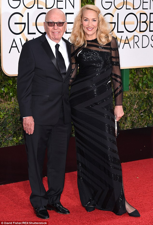 True love? Rupert Murdoch and Jerry Hall attended the Golden Globes together in Los Angeles on Sunday