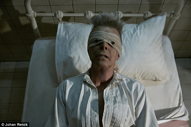 No accident: Bowie died in the week he released an album whose dominant theme is death; pictured is the haunting music video for the song Lazarus, released on Thursday