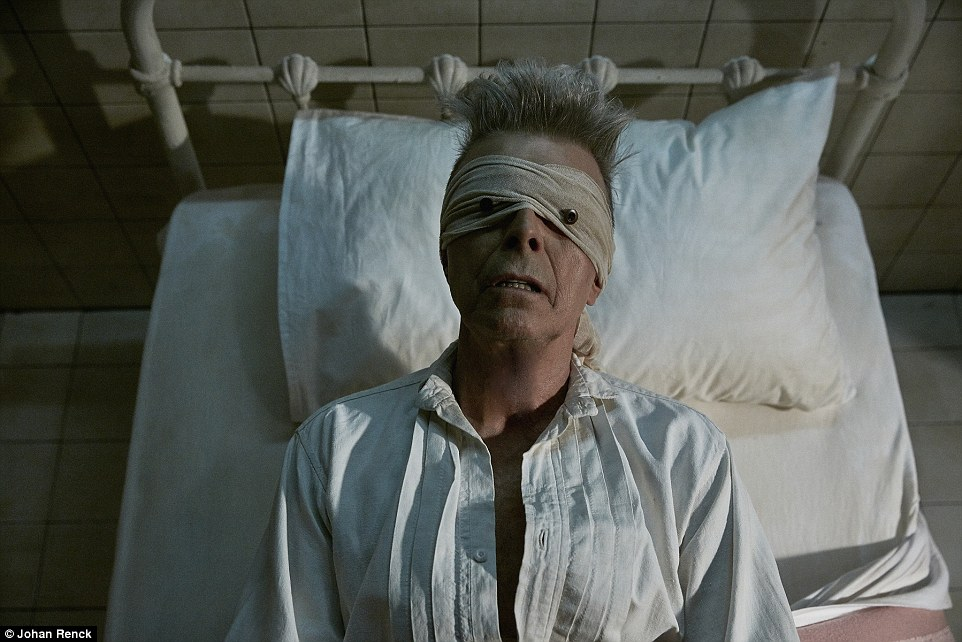 Haunting: Bowie's final music video, Lazarus, shows him in a hospital bed with his eyes covered by a bandage in an apparent premonition of his death