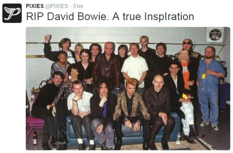 Memories: The band Pixies shared a photograph of Bowie with other musicians including The Cure's Robert Smith and Billy Corgan from Smashing Pumpkins