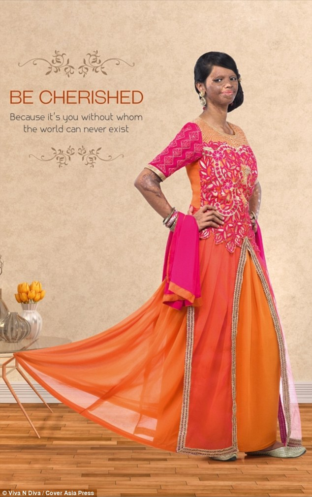 Laxmi modelled outfits for the Viva N Diva clothes brand and looked glamorous in a orange and fuschia gown with inspirational slogans in the campaign