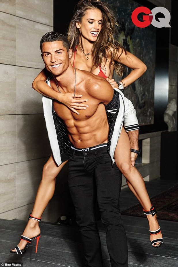 Sizzling! Alessandra and Cristiano made quite the sexy duo as they stripped off to grace the cover of GQ's latest body issue