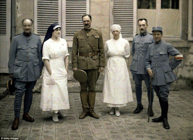 French military doctors and nurses are photographed in front of Saint-Paul Hospital in Soissons, Aisne, in northern France