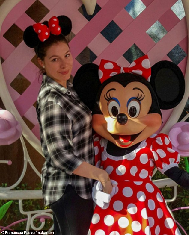Francesca Packer Barham Poses With Minnie Mouse During