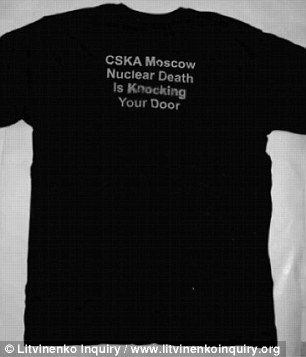 'CSKA Moscow Nuclear Death Is Knocking Your Door' was printed on the back