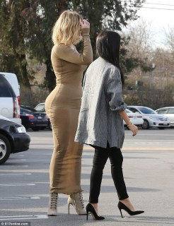 Oh dear: Khloe decided to transform a day out  into a glamorous affair, but it did not go quite to plan