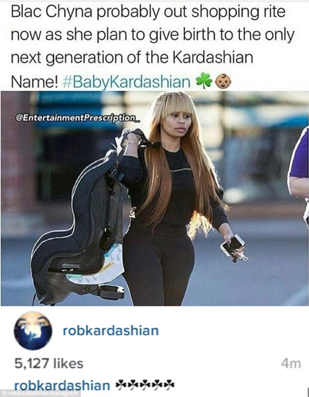 '#babykardashian': Rob Kardashian broke his social media silence to joke about his new reported girlfriend Blac Chyna having his baby on Tuesday