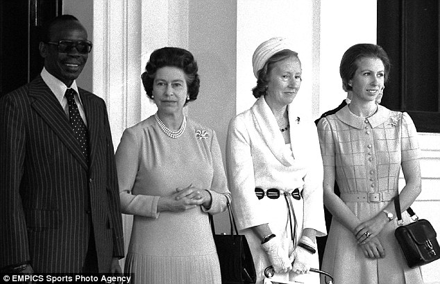 Sir Seretse Khama, President of Botswwana and Lady Khama (second right), pose with the Queen and Princess Anne at Buckingham Palace, where the President and his wife lunched with the Queen