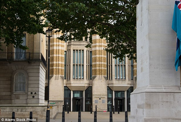New home?Plans were revealed for MPs to be rehoused in a temporary chamber in a courtyard in the Department of Health at 79 Whitehall (pictured) - opposite The Cenotaph - earlier this week