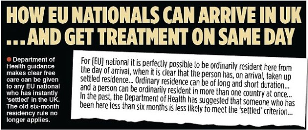 The Department of Health guidance, pictured, that allows EU nationals care on the day they arrive in the UK